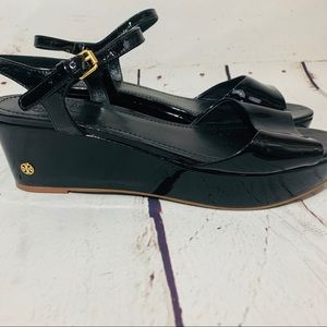 520e2e8d240 TORY BURCH Abena Low Wedge Patent Leather Sandals